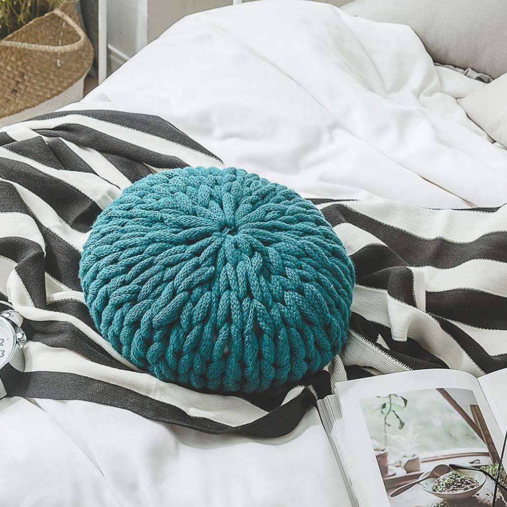 Gereton Tejido a Mano de Hilo Grueso Throw Pillow sofá cojín Trasero cojín Candy Pillow para Creativo decoración del hogar Accesorios de fotografía (con Almohada Interior) 4 Colores