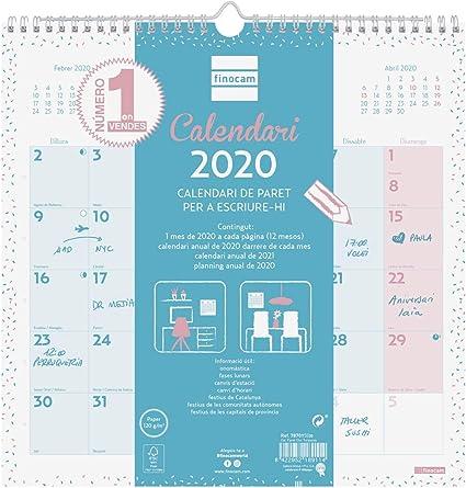 Finocam - Calendario de pared 2020 Escribir Chic Turquesa catalán ...