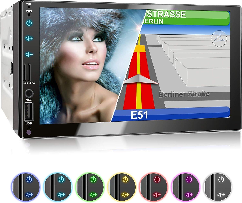 XOMAX XM-2VN751 Radio de Coche I Autoradio con Navegación GPS I Bluetooth Manos Libres I 7