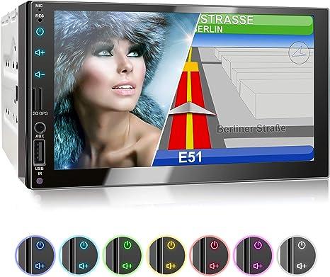 7-Zoll 2-DIN-Autoradio mit GPS-Navigation R/ückfahrkamera kompatibel mit Mirrorlink//Bluetooth-Freisprecheinrichtung//AM//FM//RDS//USB//TF//AUX IN//Ausgang
