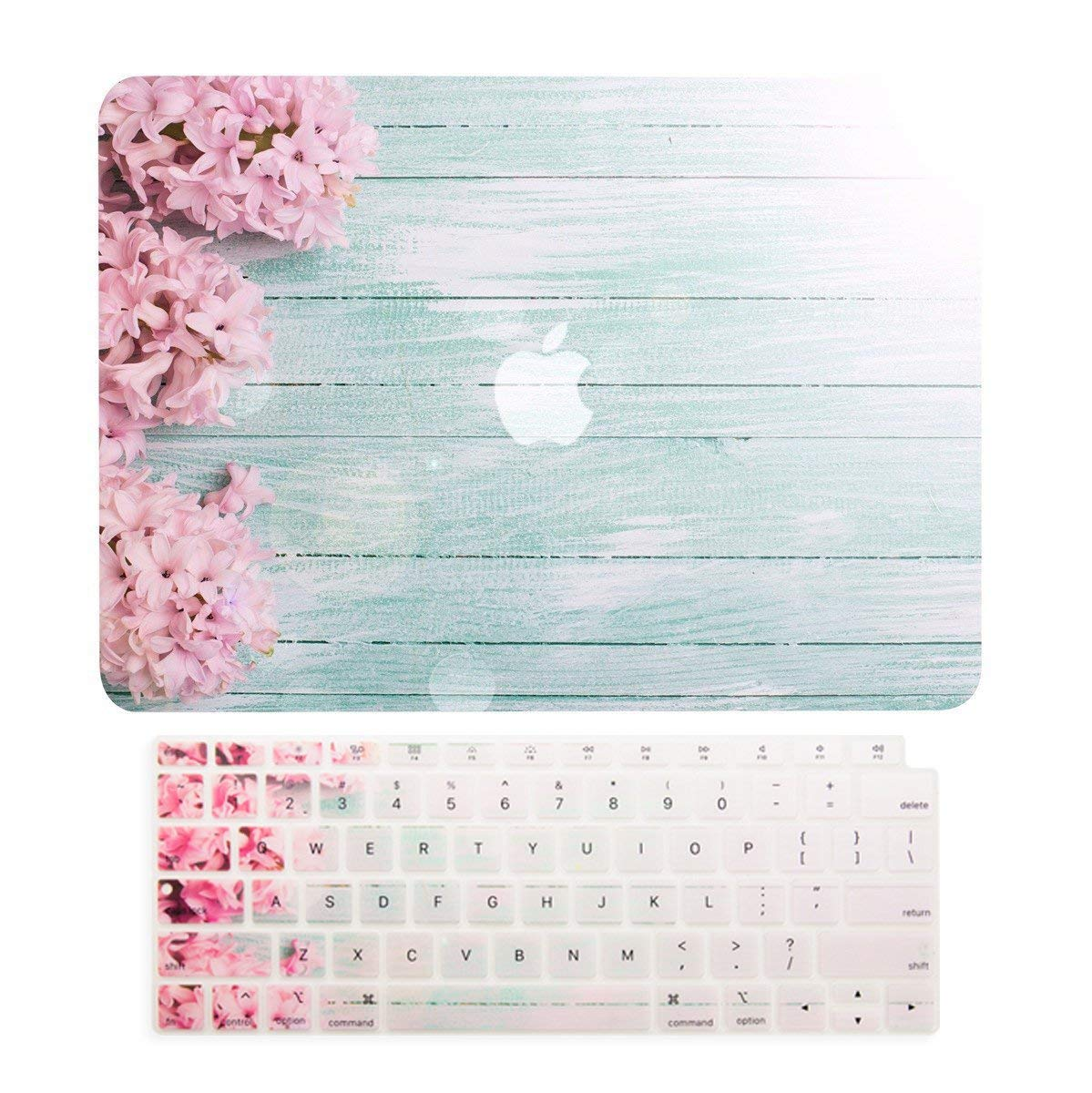 TOP CASE - 2 in 1 Floral Pattern Rubberized Hard Case + Keyboard Cover Compatible with 2018 Release MacBook Air 13 Inch with Retina Display fits Touch ID Model: A1932 - Pink Hyacinth
