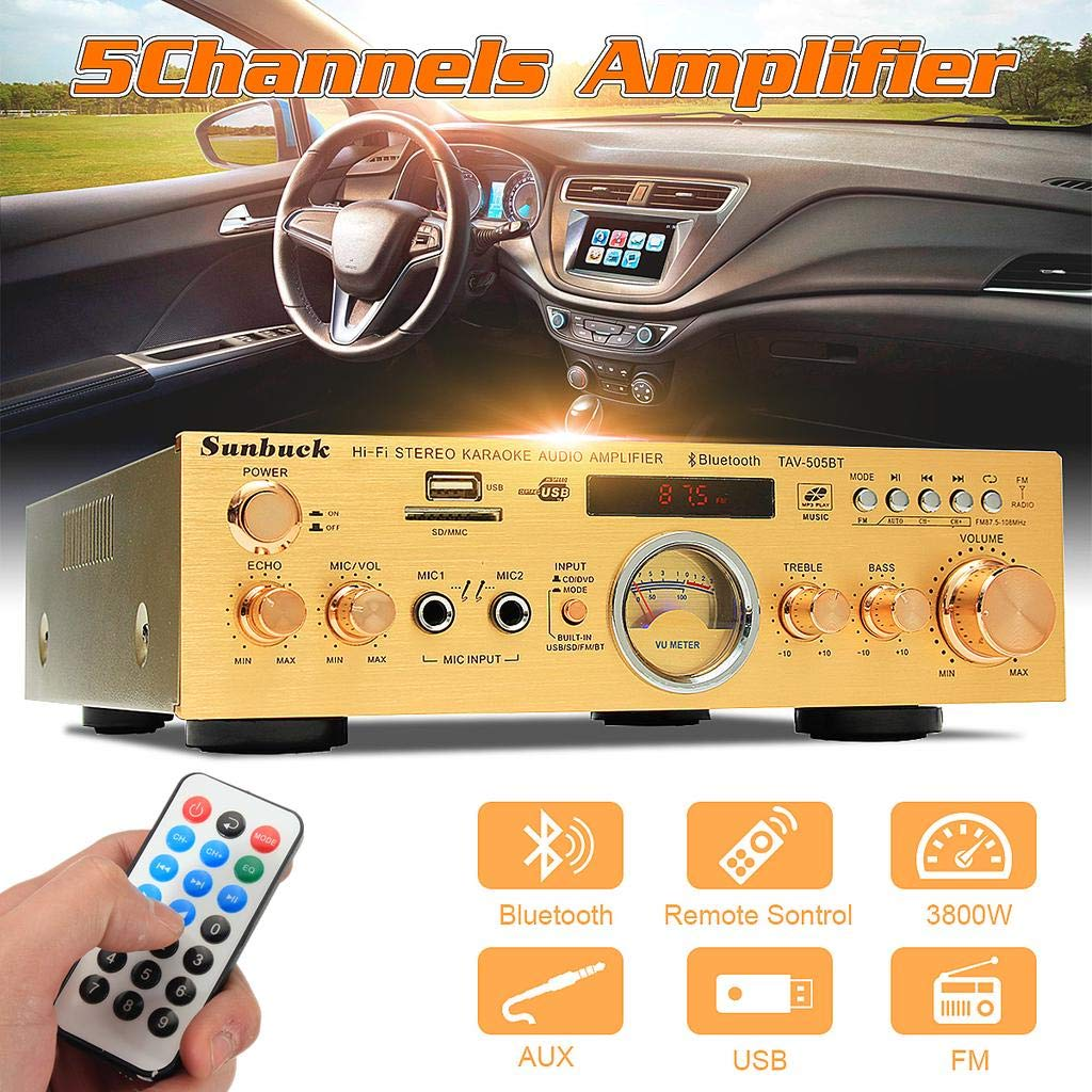 XINLIFAN Bluetooth Audio Power Amplifier 3800W 220V 5Channel Speaker with Remote Control Support USB/SD Card Very Good (Color : Like The Picture)