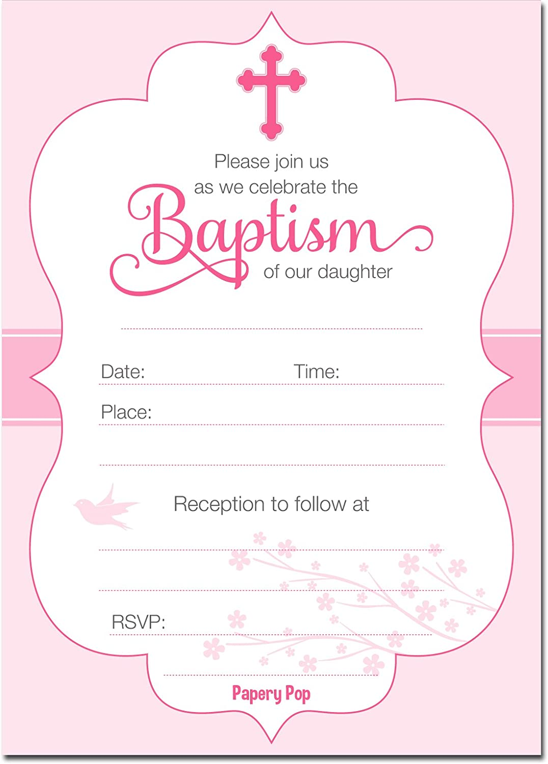 30 Baptism Invitations Girl with Envelopes (30 Pack) - Religious Christening Celebration Invites - Fill in Style Papery Pop