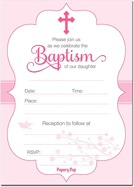 Amazoncom 30 Baptism Invitations Girl with Envelopes Religious