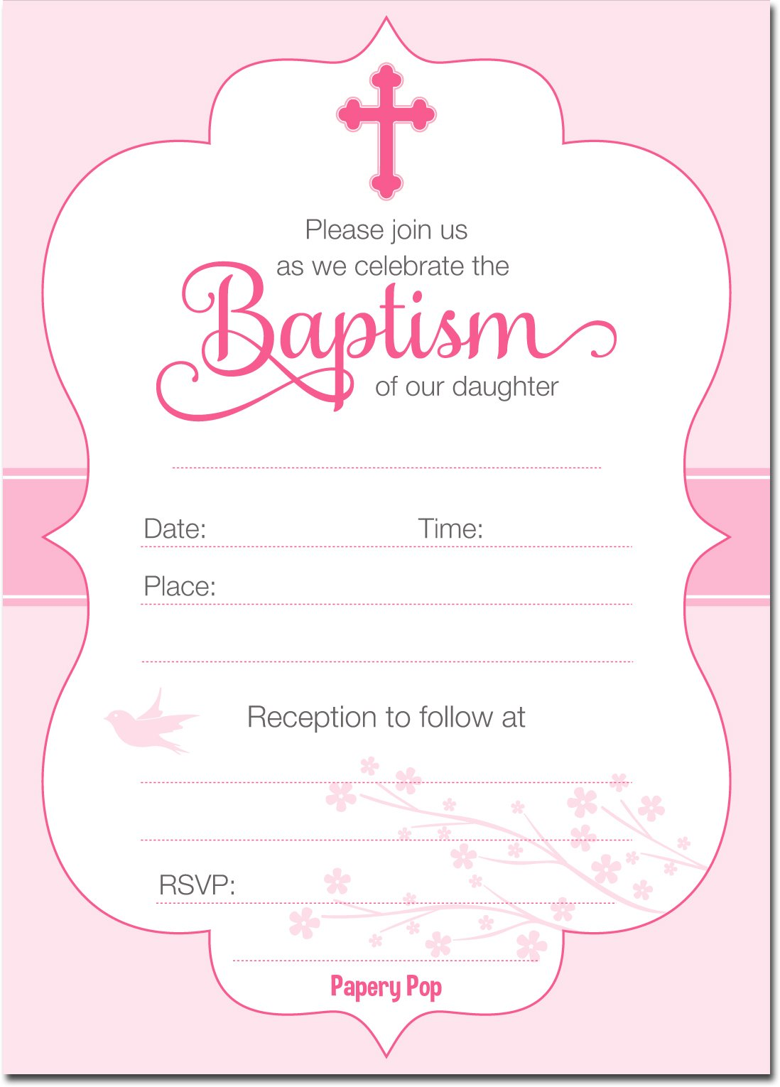 Amazon Com Baptism Invitations For Baby Girls 25 Fill In