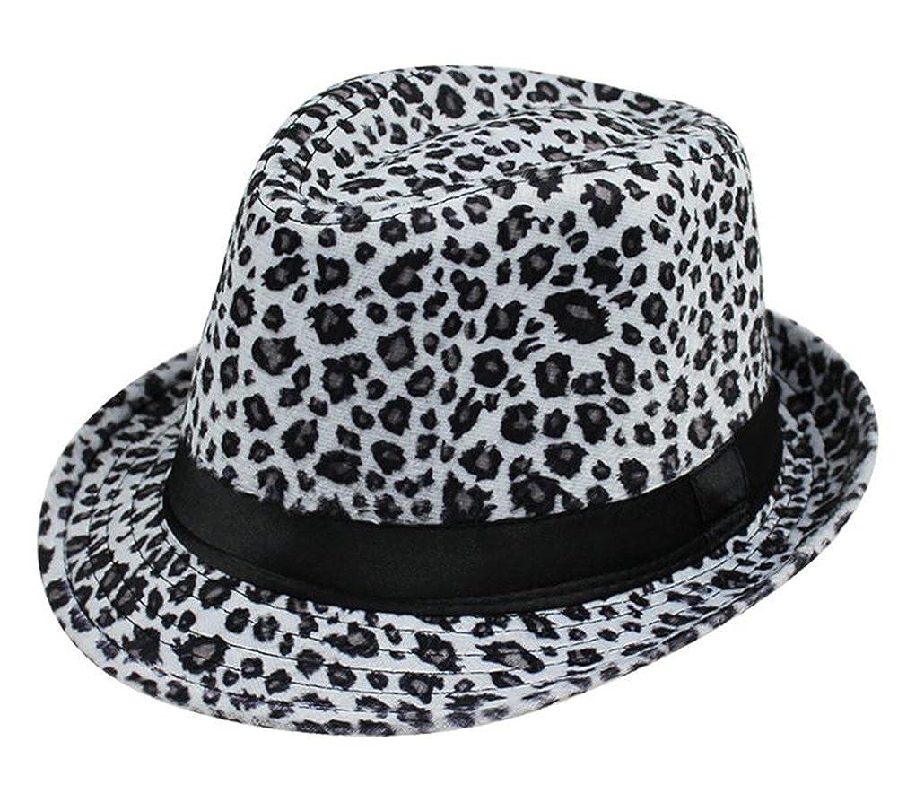 e38a4159492 Amazon.com  Summerwhisper Women s Men s Wool Leopard Fedora Trilby Hat Cap  Unisex Red  Clothing