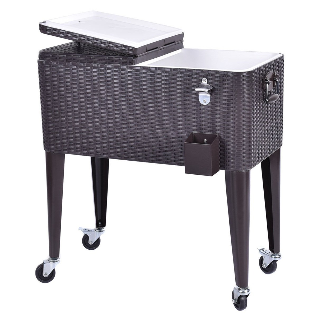 PP Rattan Cooler Cart Portable Chest with Drain Plug