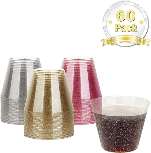 300ML 60 Pack Plastic Cups LOMOFI Oro Plastic Glitter Cups Vasos Reciclables para fiesta de cumplea/ños//Boda al aire libre//Cena familiar Oro
