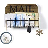 SRIWATANA Rustic Mail Letter Holder, Wall Mount Mail Organizer Mail Sorter for Hallway Foyer and Home Decoration - Iron Line Hooks Design