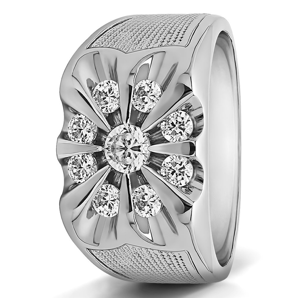 Size 3 to 15 in 1//4 Size Intervals 1Ct Sterling Silver Mens Wedding Ring Black Cubic Zirconia