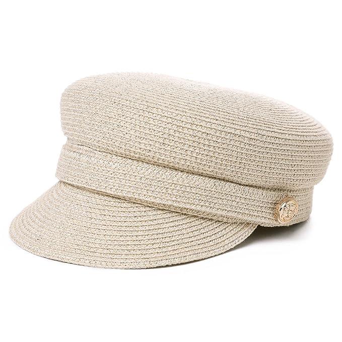 4f7f581490cf1 Jeff   Aimy Womens Straw Sun Hat Newsboy Cap Visor Beret Packable Soft  Breathable Fashion Cap