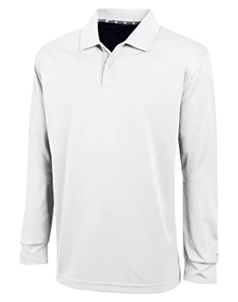 Champion Mens Ultimate Double Dry Long Sleeve Polo, XL-White ...