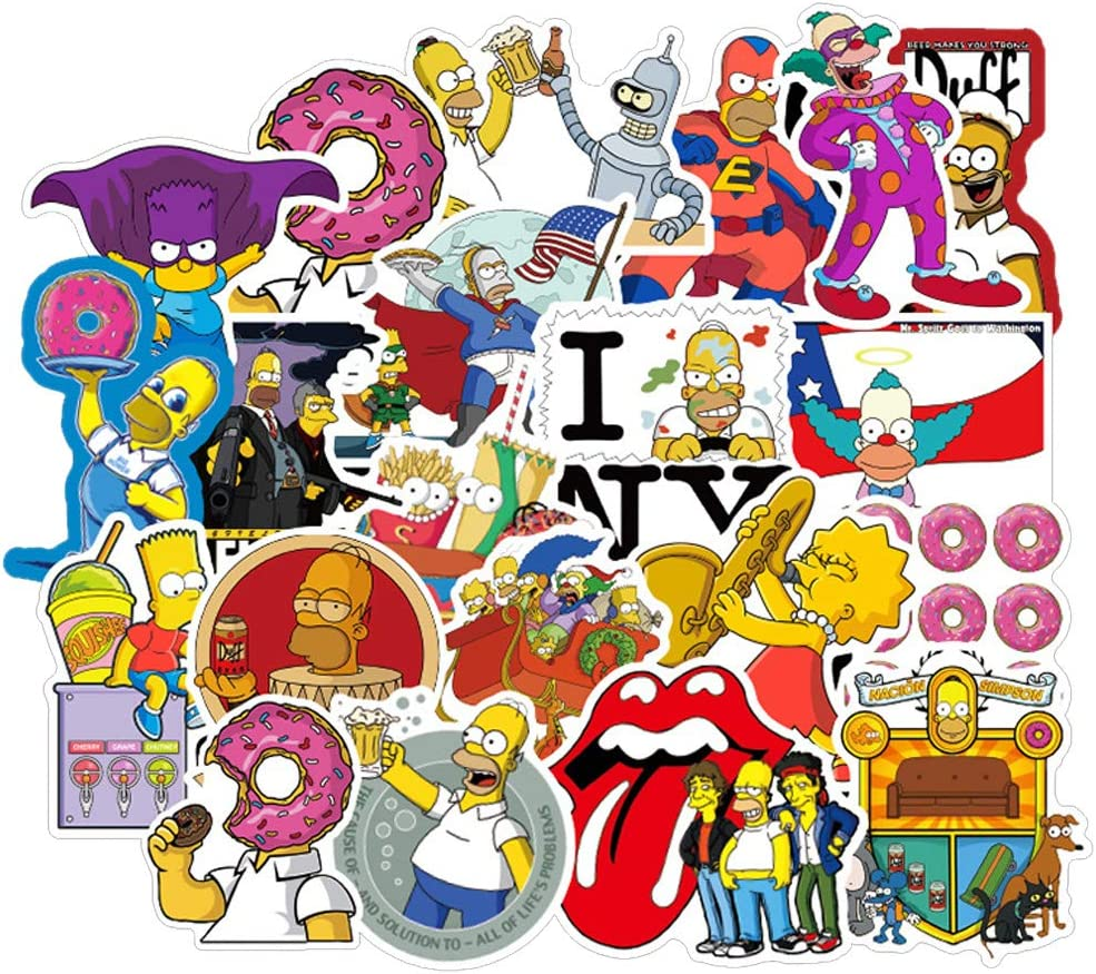 100Pcs/Pack Simpsons Animation Theme Stickers Vinyl Cool Skateboard Guitar Travel Case Sticker Door Laptop Luggage Car Bike Bicycle Stickers for Kid and Adult
