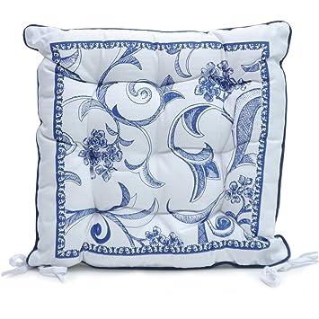 Sitzkissen Landhaus sitzkissen kissen stuhlkissen la coruna blau weiß vintage landhaus