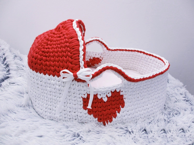 White Moses Basket Crochet basket Baby Bassinet Baby girl bed Baby bassinet Couture moses basket Infant Bed Organic bassinet Baby moses by Yunisiya