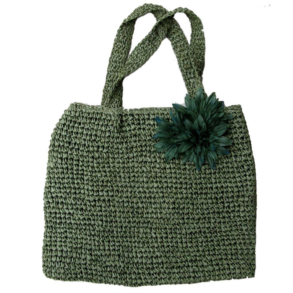 1e48be7829 Amazon.com   Women s Flower Straw Woven Beach Sea Bag Handbag Tote ...