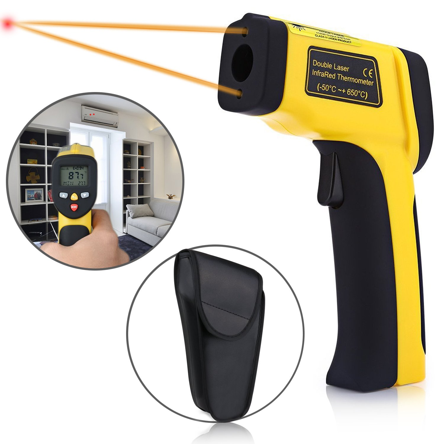 Temperature Gun, Elegant Choise Non-contact Digital Infrared IR Thermometer LCD Backlit Adjustable Emissivity for Kitchen Cooking Automotive (-58℉~ 1202℉ / -50℃ ~ 650℃)