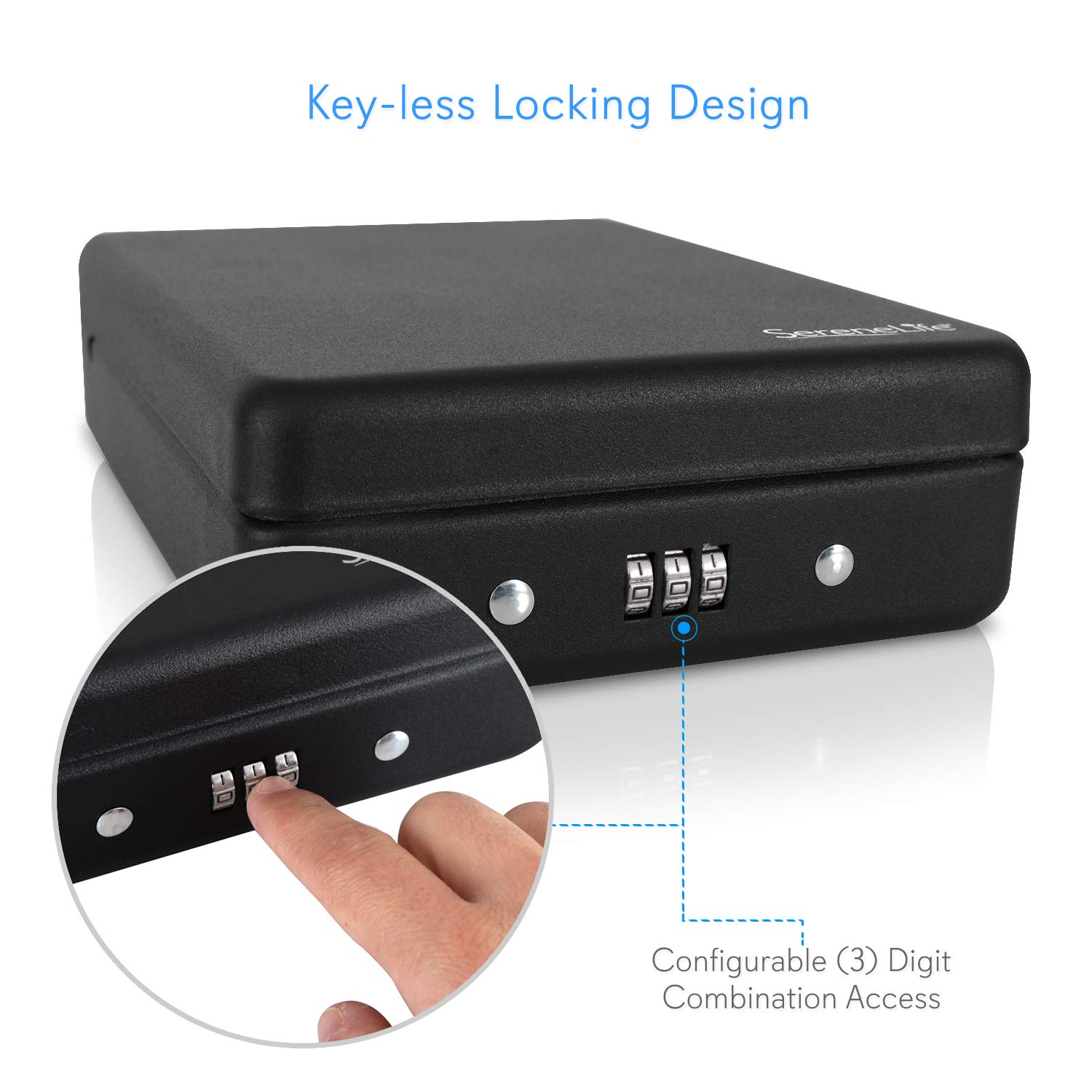 Portable Pistol Handgun Safe Box - Keyless Mechanical Lock Gun Security Storage Case with 3 Digit Secure Combination Locking, Mount Cable - for Firearm, Jewelry - Home, Car - SereneLife SLSFCR21 by SereneLife (Image #3)