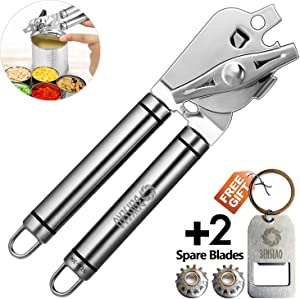 BENSEAO Can Opener Manual Can Opener Smooth Edge Can Openers for Seniors and Arthritis Heavy Duty with Ergonomic Handle Ultra Sharp Safe Ideal for Commercial Beer Bottle Opener