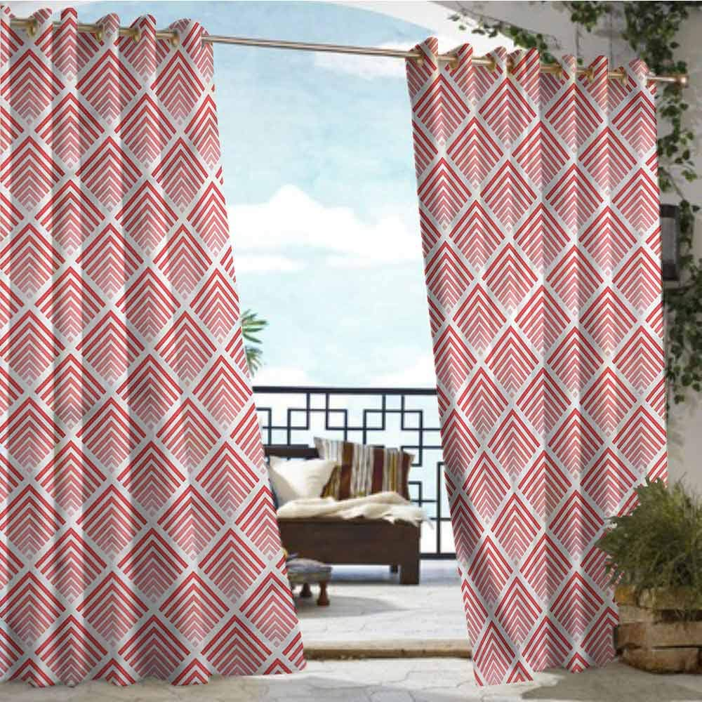 crabee Outdoor Privacy Curtain for Pergola Coral,Abstract Geometrical Rays,W96 xL108 for Front Porch Covered Patio Gazebo Dock Beach Home