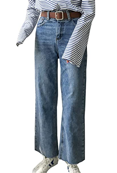 JOTHIN 2017 Corea Donna Vita Alta Biancastro 2 Pulsanti Jeans Larghi con  Pinces Flare Pantaloni Cargo Relaxed Eleganti Straight Autunno Calzoni. 2f2eb67c522