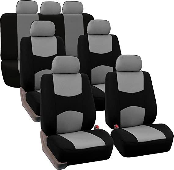 FH Group FB050217 Three Row Set Flat Cloth Car Seat Covers