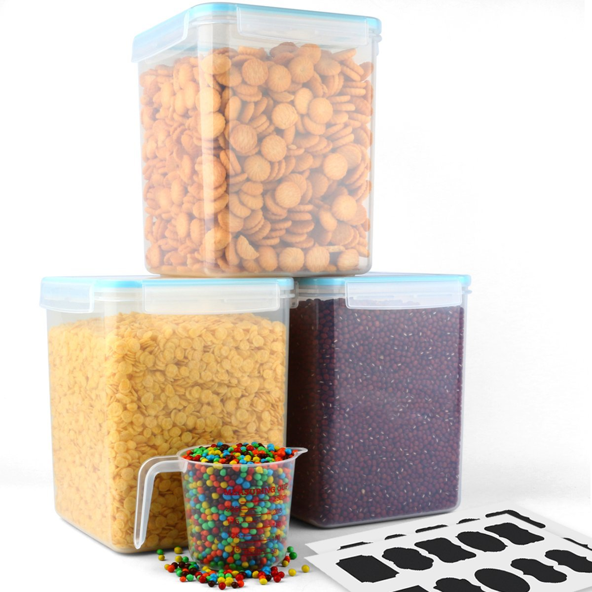 MCIRCO 5.2L(175 Oz.) Food Storage Container,Tall Large Square Airtight Food Container,Flour/Chip Container, Set of 3