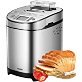 AICOOK Bread Maker, 2LB Stainless Steel Bread Machine with Gluten-Free Setting, Fruit Nut Dispenser, Large LCD display…