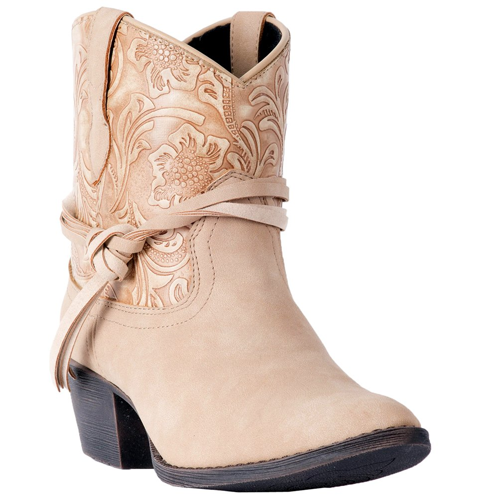 Dingo Women's Floral Tooled Knotted Strap Ankle Boot Round Toe - Di8951 B079NNTM5S 8.5 B(M) US|Tan