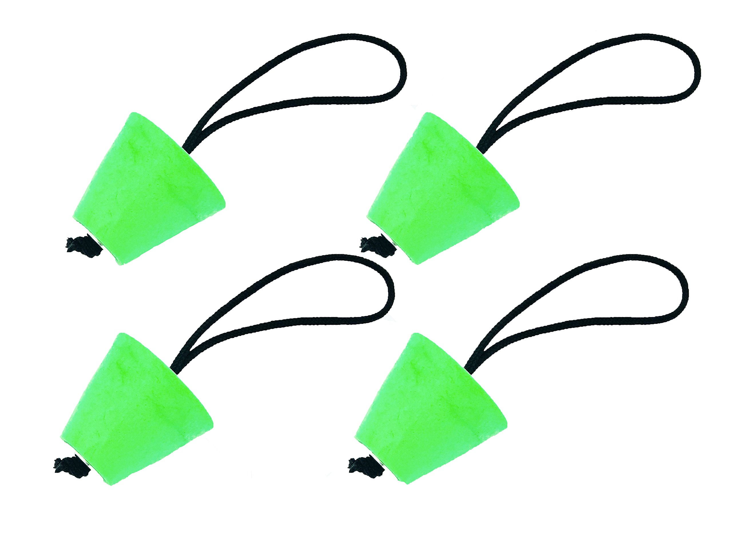 Kaelt's 4 Pack Universal Kayak Scupper Plug, Neon Green Compressible Silicone Foam Stops with Pull String
