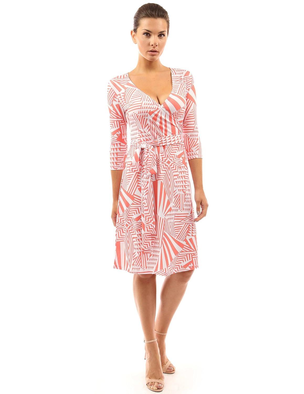 PattyBoutik Damen geometrisches faux wrap Sonnenkleid mit V-Ausschnitt