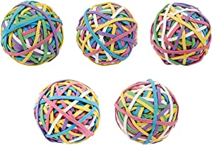 NBEADS 5 Rolls 600Pcs Elastic Rubber Band Balls, Rainbow Colorful Elastic Stretchable Rubber Bands Bulk Stationery Holder Elastic Band Loops for Arts Crafts Document Office Supplies Organizing