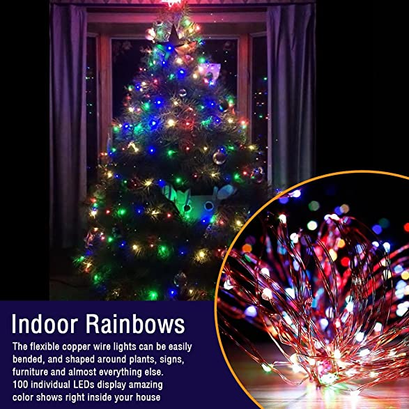 Amazon Com LE 33ft Christmas 100 LED String Lights Multicolor  - Christmas Tree Shaped Lights