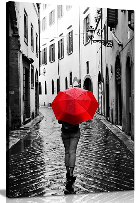 Woman with red umbrella black white canvas wall art picture print 36x24in