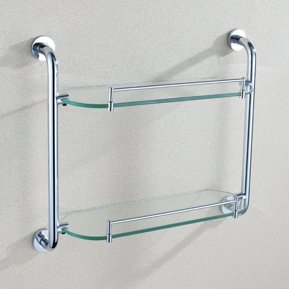 Bathroom Glass Shelf With Rail, Angle Simple SUS304 Stainless Steel 2 Tier Storage Shelf Thick Tempered Glass Lavatory Organizer Storage Rack Vanity Shelf Over Kitchen Sink Wall Mount, Chrome