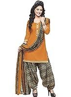 EthnicJunction Women's Cotton Patiala Unstitched Suits Collection (Orange, EJ1111-111017)