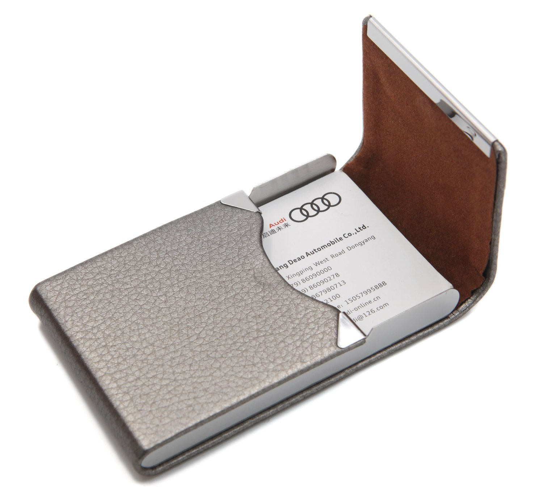 PU Leather Slim Business Credit Card Holder with Magnetic Shut Front Pocket Wallet