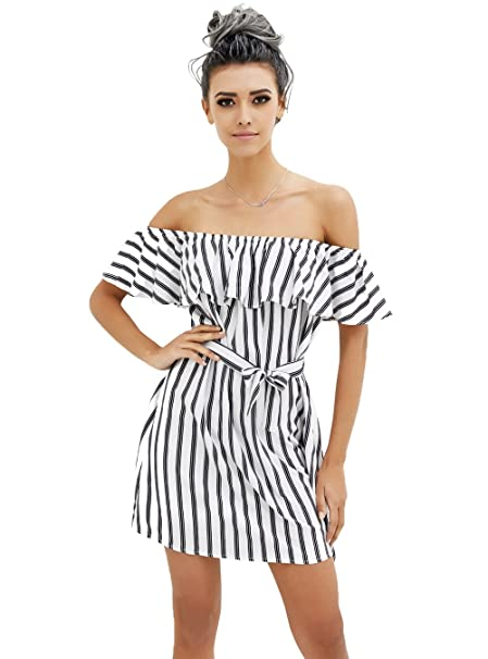 1b2aa5123da PYL Women s Off The Shoulder White Striped Dress with Belt at Amazon  Women s Clothing store