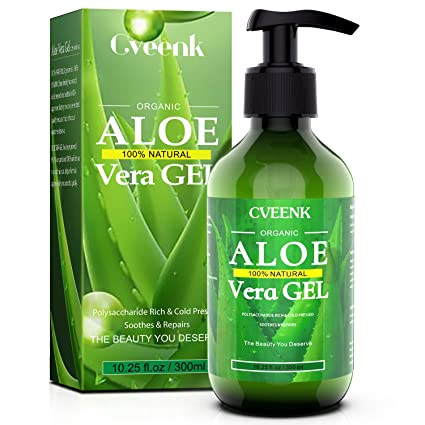 Amazon Com Cveenk Aloe Vera Gel 10oz 300ml Organic Aloe Vera Moisturizing Gel 100 Natural Hydrating Skin Cooling Soothing Aloe Gel Pure Aloe Plant For Face Body Hair Sunburn Bites Rashes Sensitive