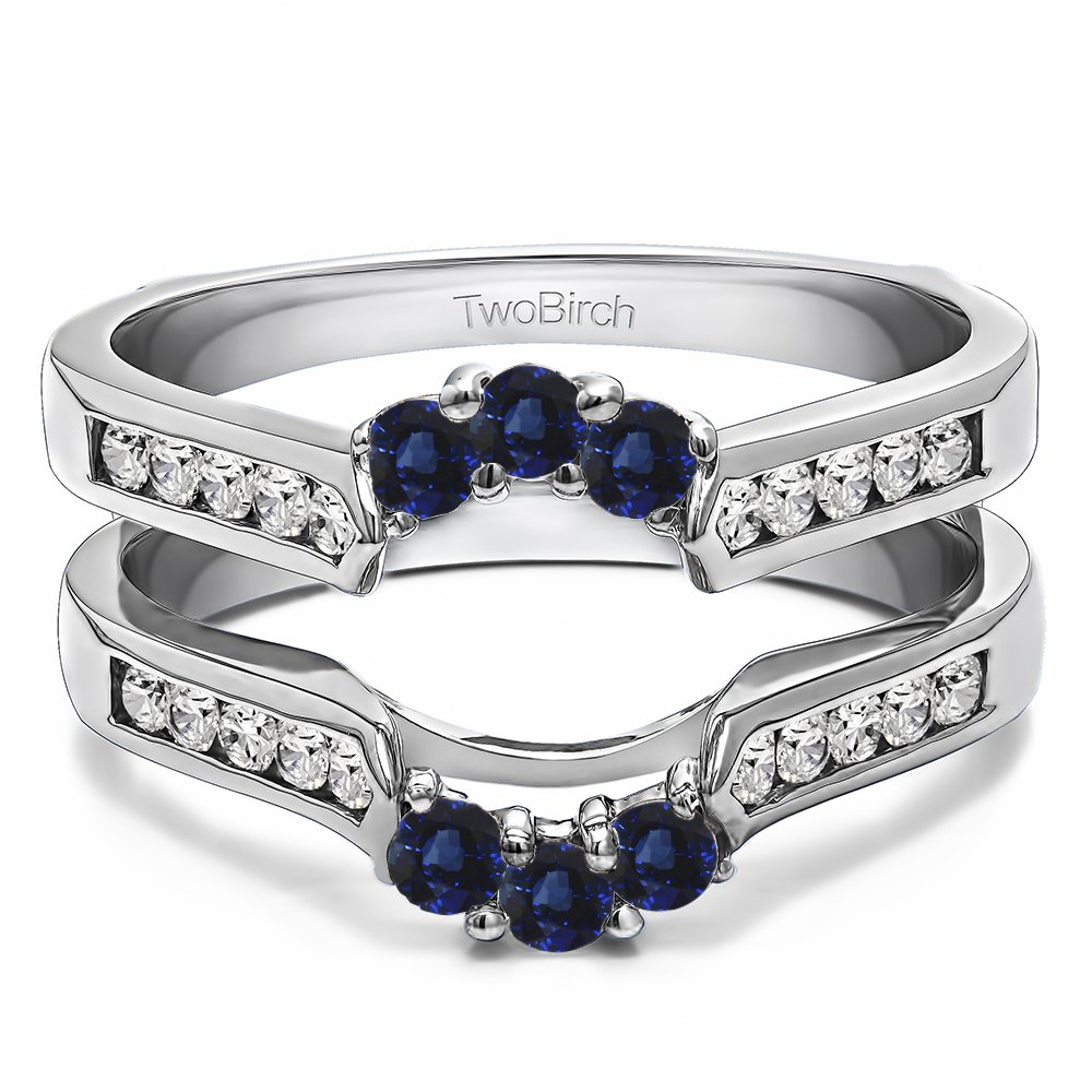 Silver Royalty Inspired Half Halo Ring Guard Enhancer with Diamonds and Sapphire (0.54 ct. twt.)