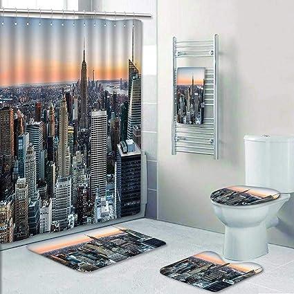 Amazon.com 5 Piece Bath Rug Set,Decor New York City Themed