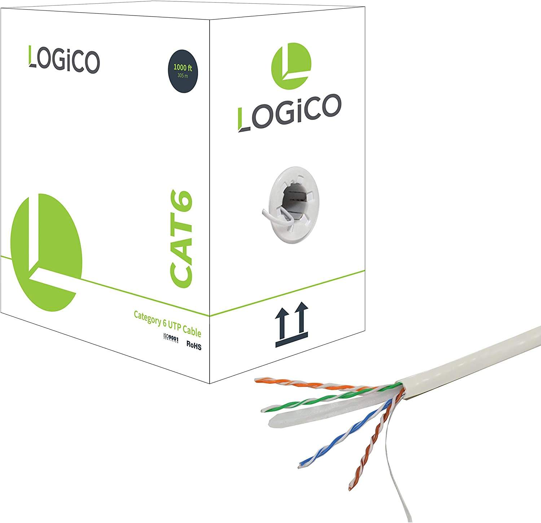 LOGICO Cat6 1000 ft 23AWG 550Mhz UTP Bulk Ethernet Network LAN RJ45 Cable Black