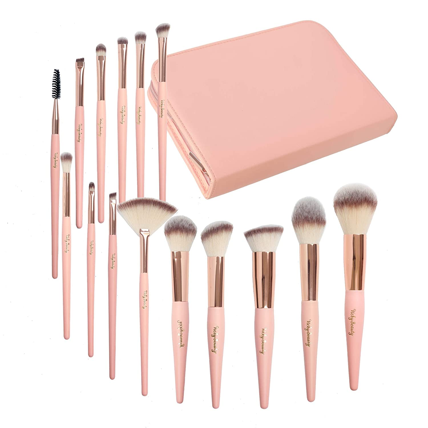 Professional Makeup Brush Set-15 Premium Cosmetic Applicators with Soft Synthetic Vegan Bristles Rose Gold Pink Wood Handles– 15pc Beauty Brushes Kit with Zip Organizer Case Travel Bag By Vickybeauty
