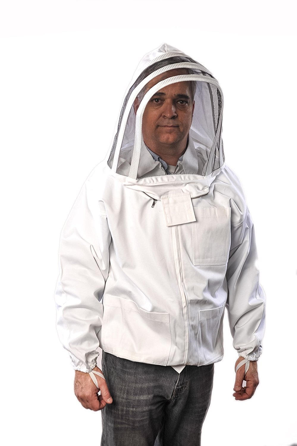 Forest Beekeeping Jacket with Fencing Veil Hood, Professional Premium Beekeeper Jackets (SMALL)
