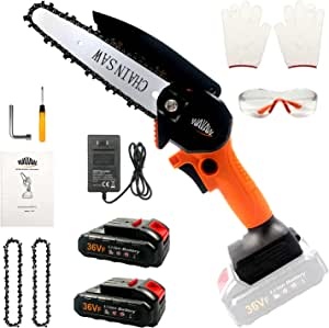 Mini Chainsaw Cordless Kit,Upgraded 6 Inch One-Hand Electric Saw with Hand Guard and Safety Button, 2 Batteries2 Chain,Mini Battery Powered Chainsaw for Wood Cutting,Garden Tree Trimming, Patio, Ranch