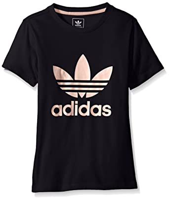 7b31d638 adidas Originals Tops Big Girls' Short Sleeve Trefoil Tee, Legend Ink/Haze  Coral