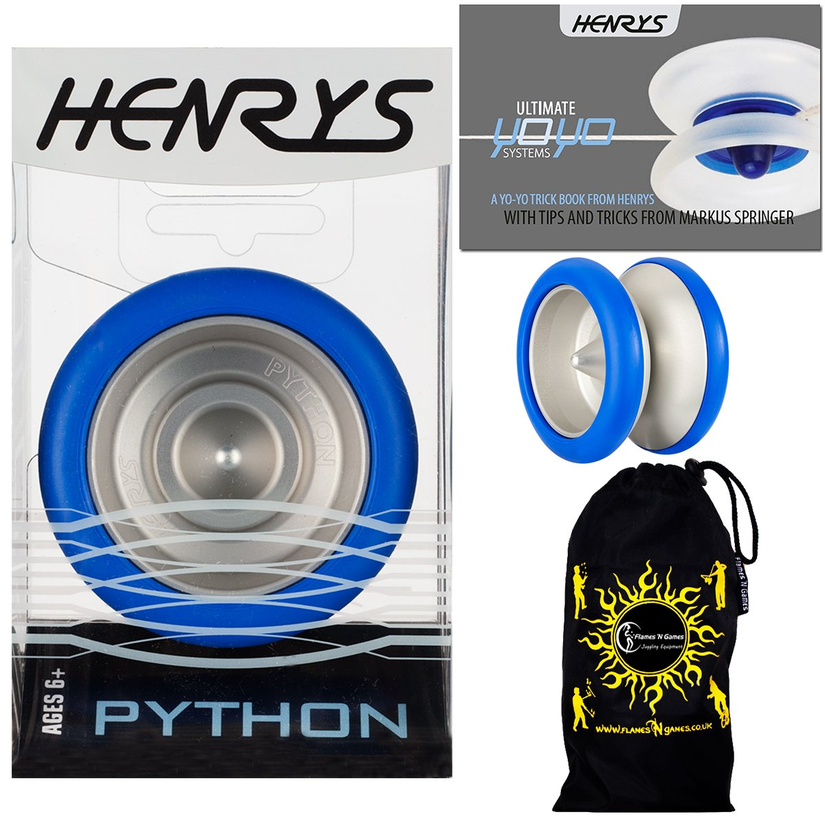 Henrys PYTHON Pro YoYo (Blue) Metal Professional String Trick (1A, 3A, 5A) Bearing YoYo +Instructional Booklet of Tricks & Travel Bag! Top Of The Range YoYo! Pro YoYos For Kids and Adults. by Henrys YoYo's