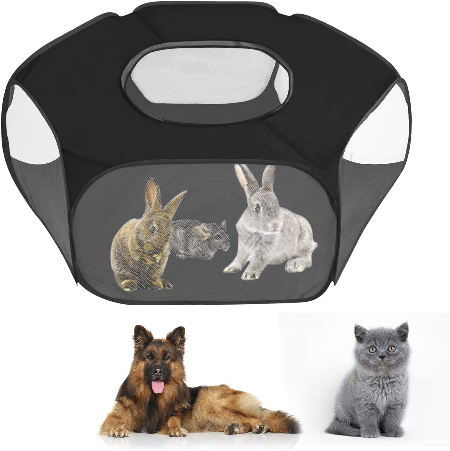 YJZQ - Tienda de campaña para animales pequeños y animales de viaje, barrera de forma parque con tapa superior para jugar, jaula de tela para erizo, conejo, hámster