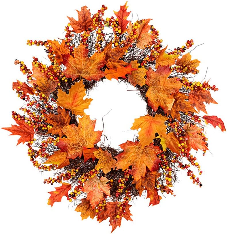 Adoture Autumn Simulation Wreath 45cm//18inch Garland Rattan Artificial Door Wreath for Halloween Home Decor Ornaments Christmas Thanksgiving Hanging Decoration