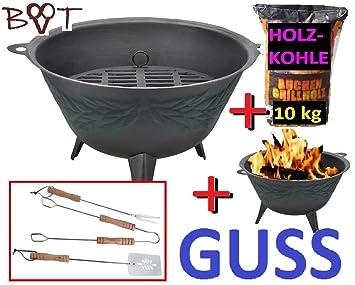 Brasero Barbacoa de carbón + 10 kg Carbón vegetal Barbacoa Terraza Fuego fondo Cóncavo Casa: Amazon.es: Jardín